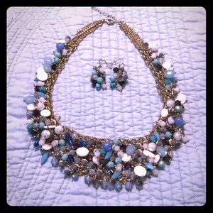Statement BlueBauble Necklace w matching earrings